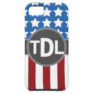 Stars and Stripes Monogrammed iPhone 5 case