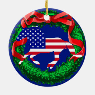 Stars and Stripes Mustang Ceramic Ornament