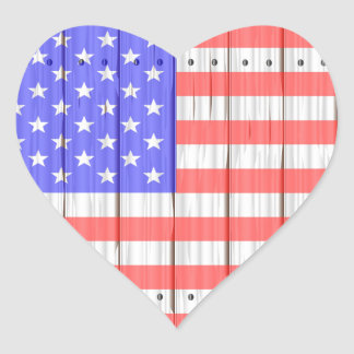 Stars And Stripes On A Fence Heart Sticker