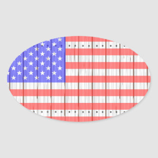 Stars And Stripes On A Fence Oval Sticker