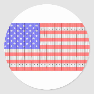 Stars And Stripes On A Fence Round Sticker