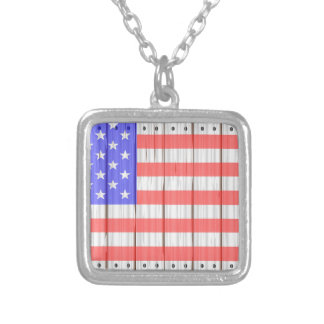 Stars And Stripes On A Fence Silver Plated Necklace
