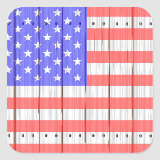 Stars And Stripes On A Fence Square Sticker