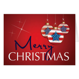 Stars and Stripes Patriotic Christmas Ornament Card
