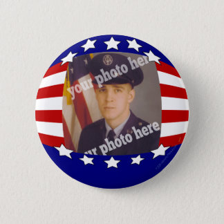 Stars and Stripes Patriotic Custom Photo Red White 2 Inch Round Button