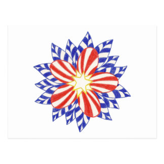 Stars and Stripes Patriotic Flower Postcards