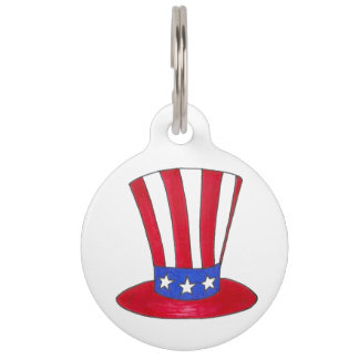 Stars and Stripes Patriotic Uncle Sam Tophat Sammy Pet Name Tag
