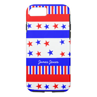 Stars and Stripes Pattern USA Flag Colors iPhone 7 Case