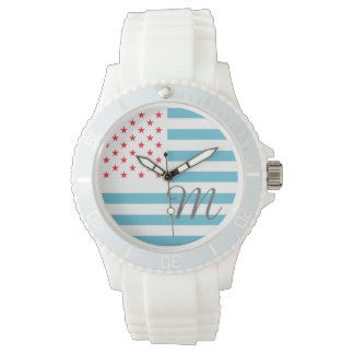 Stars and Stripes personalized monogram Watch