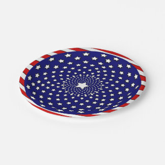 Stars and Stripes Red White Blue Fireworks Paper Plate
