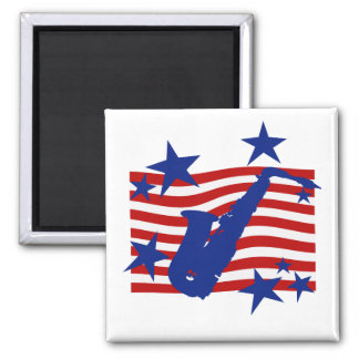 Stars and Stripes Saxophone Magnet