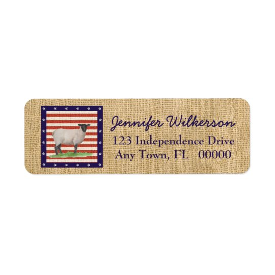 Stars and Stripes Sheep Return Address Label