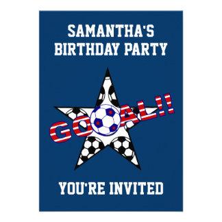 Stars and Stripes Soccer Goal Birthday Party Custom Invites