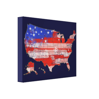 stars+and+stripes u.s. map flag canvas print
