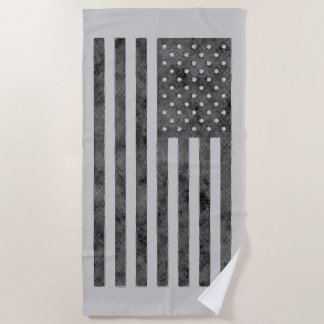 Stars And Stripes US Flag Design in Grey on a Beach Towel