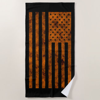 Stars And Stripes US Flag Design in Orange on a Beach Towel