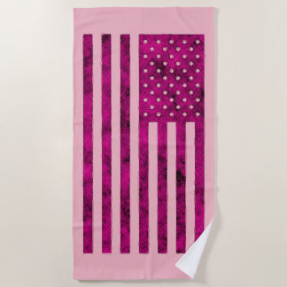 Stars And Stripes US Flag Design in Pink on a Beach Towel