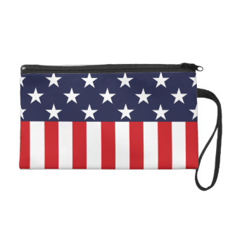 Stars and Stripes USA Flag Wristlet Purse