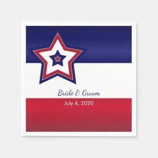 Stars and Stripes Wedding Paper Napkins