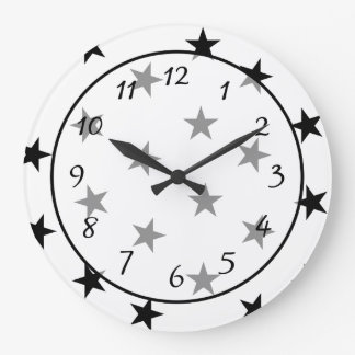 Stars Black and White Clock