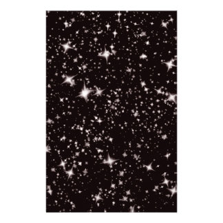 stars black night customized stationery