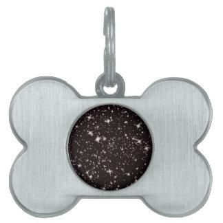 stars black night pet name tags