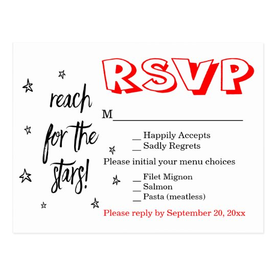 Stars Black White Red RSVP Wedding Typography Postcard