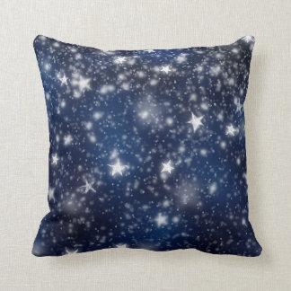 Stars Blue Night Sky Snow Winter White Navy Throw Pillow