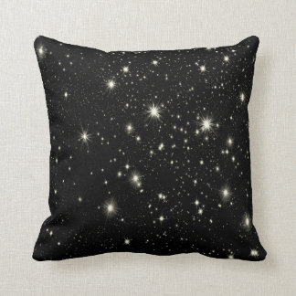Stars by Night throw pillow Black & white
