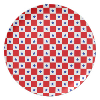 """Stars & Checks"" Red Plate"