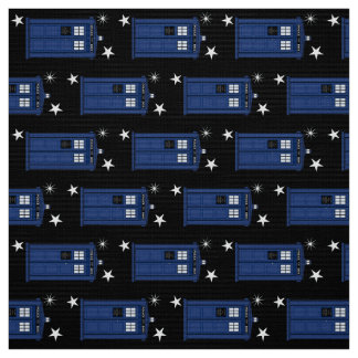 Stars & Classic Police Box Geek SciFi long Fabric