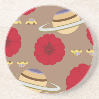 Stars, flowers, and cars beverage coasters