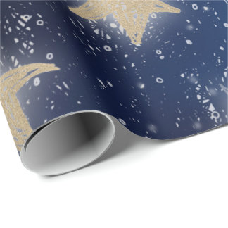 Stars Galaxy Sky Navy Blue Night Gold Painting