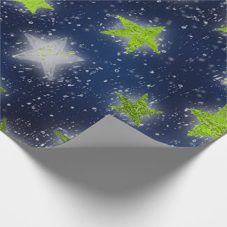 Stars Galaxy Sky Navy Blue Night GreenGold Fancy Wrapping Paper