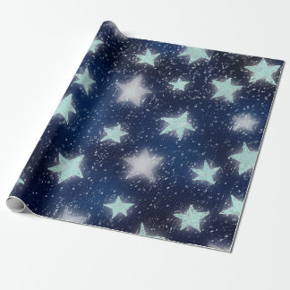 Stars Galaxy Sky Navy Blue Night Mint Tiffany Aqua Wrapping Paper