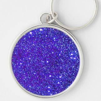 Stars Glitter Sparkle Universe Infinite Sparkly Silver-Colored Round Keychain