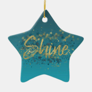 Stars Gold Blue Shine Ceramic Ornament