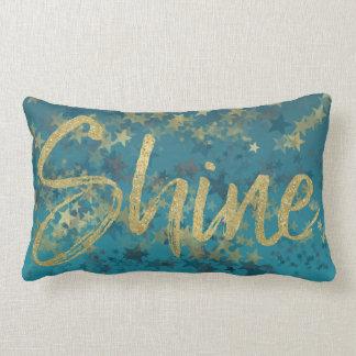 Stars Gold Blue Shine Lumbar Pillow
