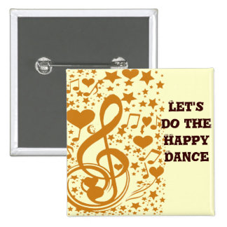 Stars,Hears and The Music Notes,Gold_ 2 Inch Square Button