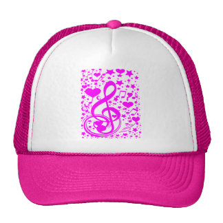 Stars,Hearts and The music notes-Pink_ Trucker Hat