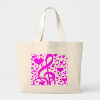 Stars,Hearts and The music notes-Pink_ Large Tote Bag
