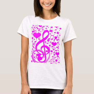 Stars,Hearts and The music notes-Pink_ T-Shirt