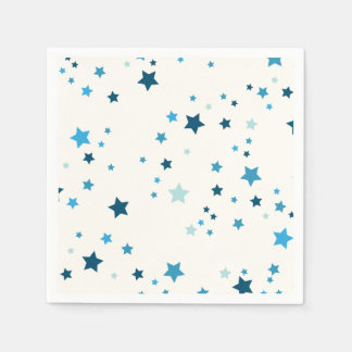 Stars in multiple shades of blue disposable napkin