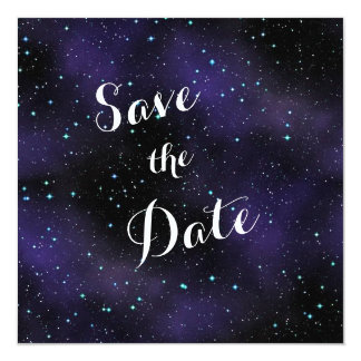 "Stars in the Night Sky Save the Date Wedding 5.25"" Square Invitation Card"