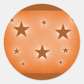 Stars in the Night Sky Stickers, Orange Classic Round Sticker