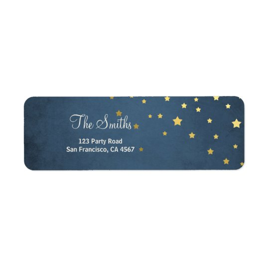 Stars Moon Address Labels Gold Baby shower Twinkle