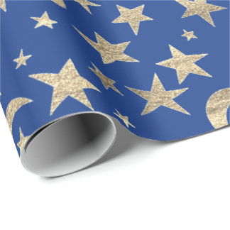 Stars Moon Blue Indigo Gold Metal Sky Champaign Wrapping Paper