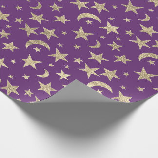 Stars Moon Purple Plum Gold Metall Sky Champaign Wrapping Paper
