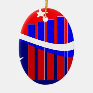 Stars n Bars Ceramic Oval Ornament