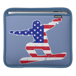 Stars 'n' Stripes SNOWBOARDER (wht) iPad Sleeve